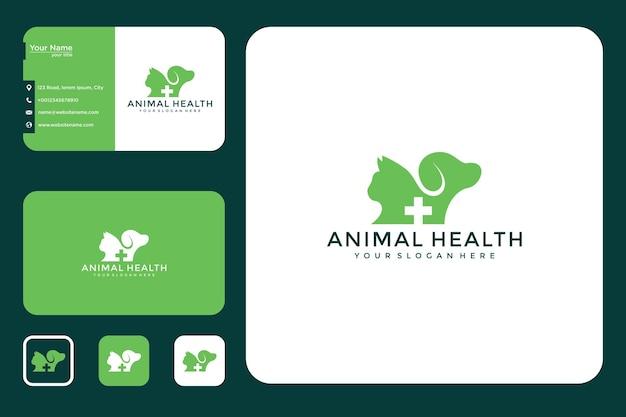 Design de logotipo de saúde animal e cartão de visita
