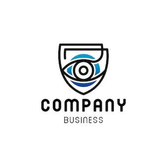 Design de logotipo de segurança de escudo de olho