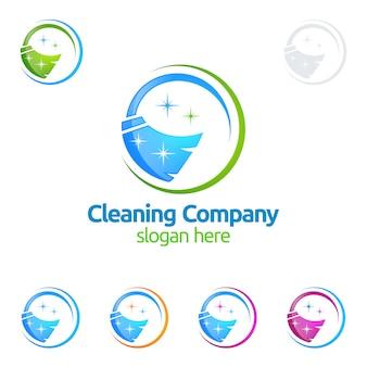 Design de logotipo de serviço de limpeza