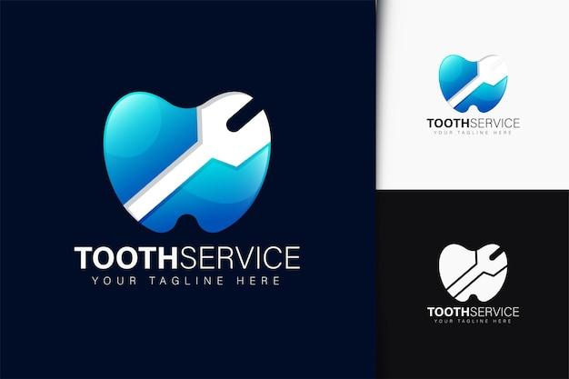 Design de logotipo de serviço dentário com gradiente