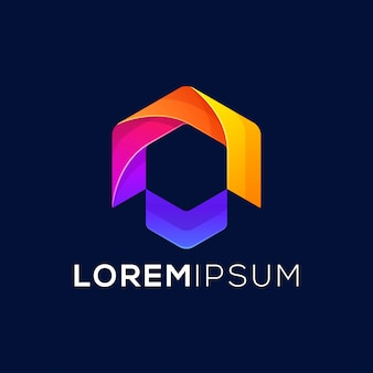 Design de logotipo de seta colorida pronto para uso