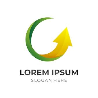 Design de logotipo de seta com estilo 3d de cor verde e amarelo
