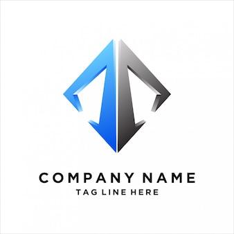 Design de logotipo de seta da letra a