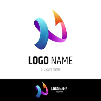Design de logotipo de seta simples letra n