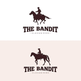 Design de logotipo de silhueta de cavalo de equitação de caubói