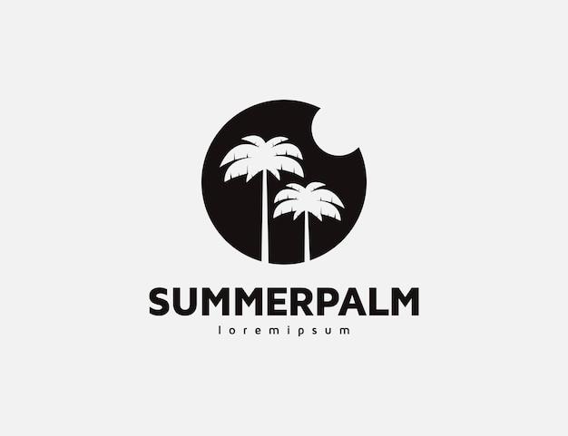 Design de logotipo de silhueta de palmeira e sol de verão