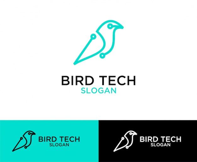 Design de logotipo de símbolo de tecnologia de pássaro