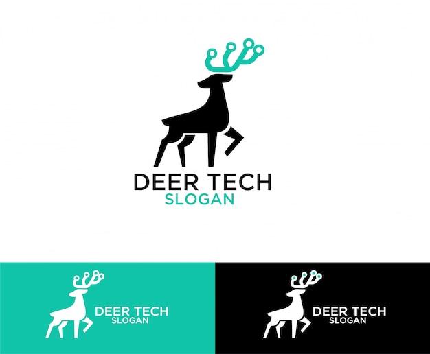 Design de logotipo de símbolo de tecnologia de veado