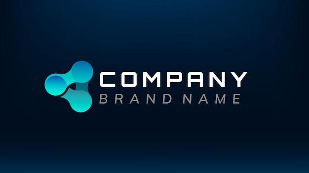 Design de logotipo de slogan editável de molécula de triângulo gradiente