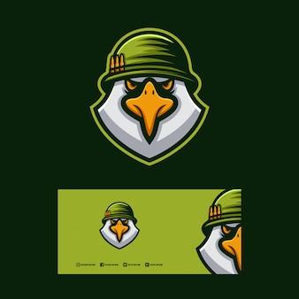 Design de logotipo de soldado de águia.