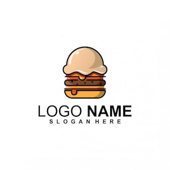 Design de logotipo de sorvete de hambúrguer