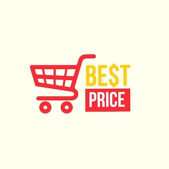 Design de logotipo de supermercado com carrinho vermelho