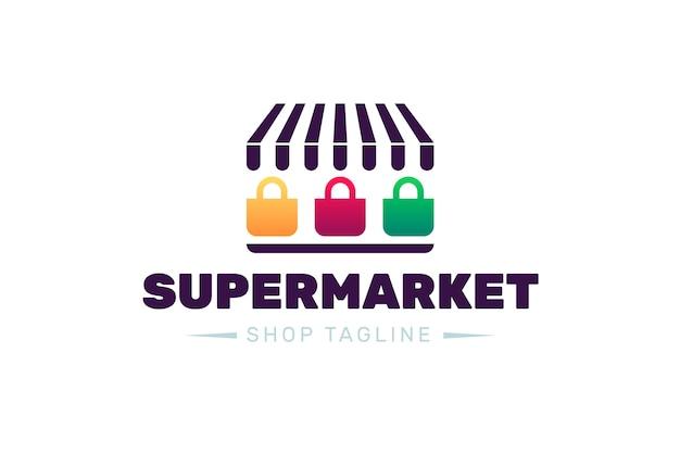 Design de logotipo de supermercado com slogan da loja