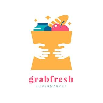 Design de logotipo de supermercado com slogan