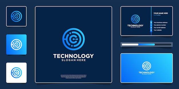 Design de logotipo de tecnologia abstrata com modelo de cartão de visita