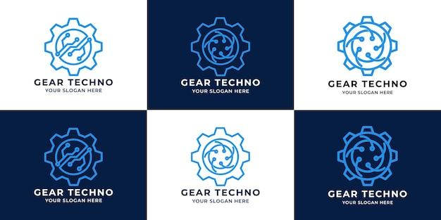 Design de logotipo de tecnologia circular de engrenagem de circuito