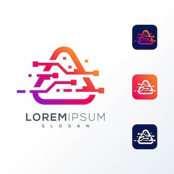 Design de logotipo de tecnologia colorido pronto para uso