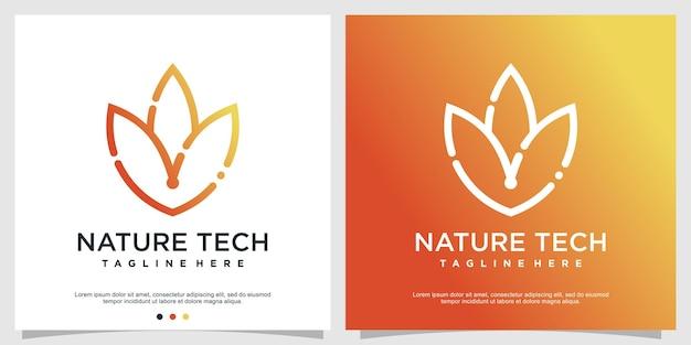 Design de logotipo de tecnologia da natureza vetor premium