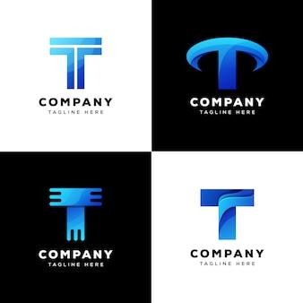 Design de logotipo de tecnologia de carta de coleção t
