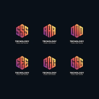 Design de logotipo de tecnologia de coleção