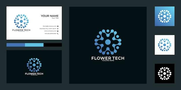Design de logotipo de tecnologia de flores e cartão de visita, bom uso para logotipo de tecnologia