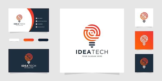 Design de logotipo de tecnologia de lâmpada criativa e modelos de cartão de visita