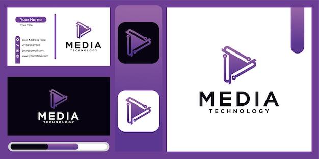 Design de logotipo de tecnologia de reprodução de mídia em gradação de cores de opções de ícone de logotipo de player de mídia