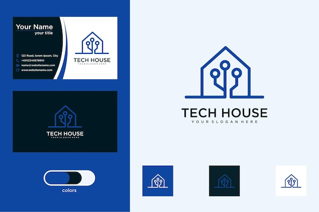Design de logotipo de tecnologia doméstica e cartão de visita