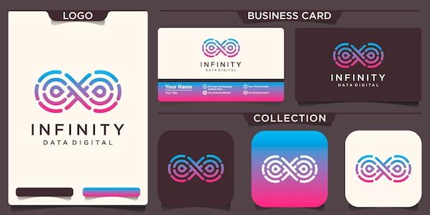 Design de logotipo de tecnologia infinita. loop com conceito de linha