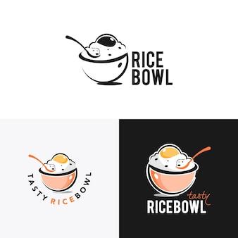 Design de logotipo de tigela de arroz com vetor de colher
