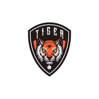Design de logotipo de tigre com shild