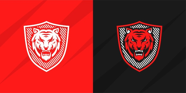 Design de logotipo de tigre isolado vetor premium