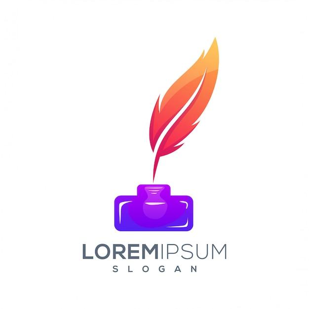 Design de logotipo de tinta colorida de penas