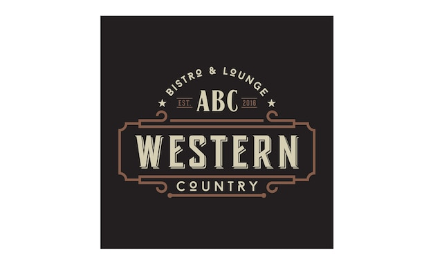 Design de logotipo de tipografia de emblema de país ocidental vintage
