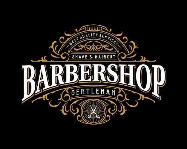 Design de logotipo de tipografia vitoriana vintage ornamentado de barbearia com moldura decorativa floreada