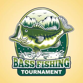 Design de logotipo de torneio de pesca do robalo