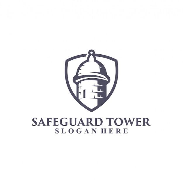 Design de logotipo de torre de guarda segura