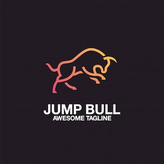 Design de logotipo de touro de salto