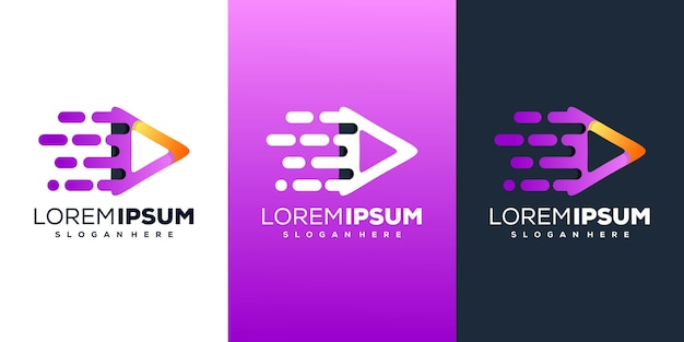 Design de logotipo de triângulo de tecnologia moderna
