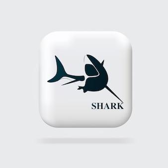 Design de logotipo de tubarão ícone minimalista botão da web ilustrações vetoriais em 3d banner da web design moderno