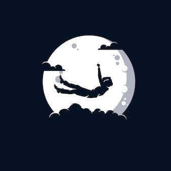 Design de logotipo de um homem na lua Vetor Premium
