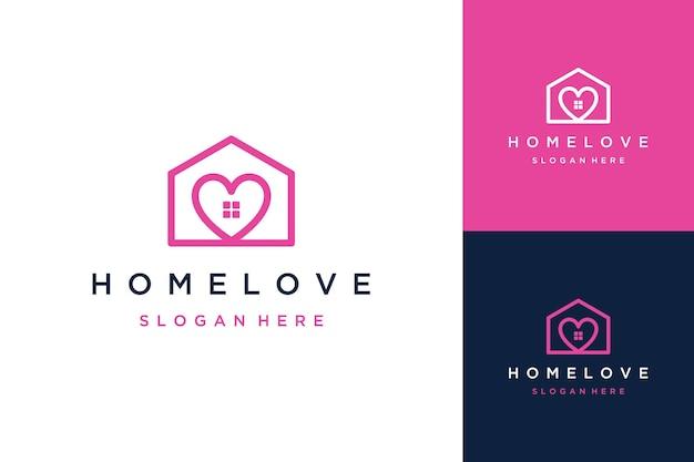 Design de logotipo de uma construção ou casa com um coração