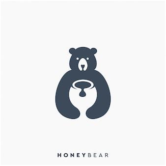 Design de logotipo de urso de mel