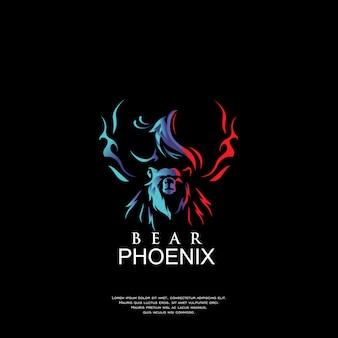 Design de logotipo de urso e phoeix