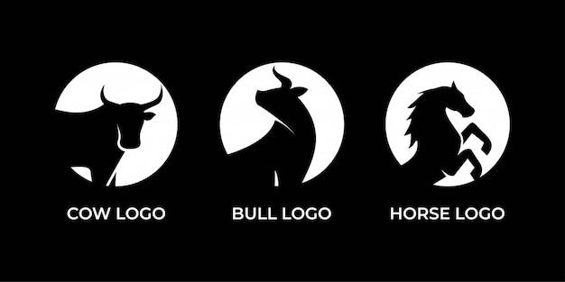 Design de logotipo de vaca, touro e cavalo