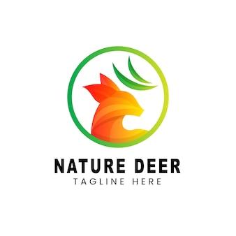 Design de logotipo de veado com gradiente de cores