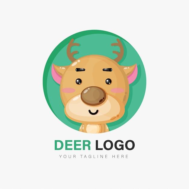 Design de logotipo de veado fofo