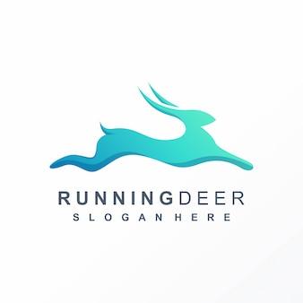Design de logotipo de veado pulando pronto para usar