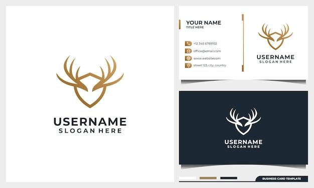 Design de logotipo de veado selvagem com estilo de arte de linha e conceito de escudo e modelo de cartão de visita
