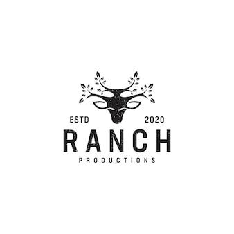 Design de logotipo de veados e folhas